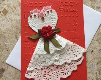 Handmade dress birthday card