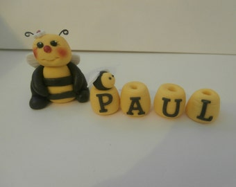 Edible Bee and Honey pots with any name up to 7 letters