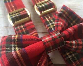 Christmas Bow Tie and Suspender Set | red tartan plaid Suspenders | Christmas plaid suspenders | red suspenders | red plaid bow tie