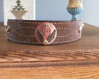 Handmade wing leather cuff