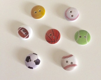 20 Sports Ball Buttons ~ Sport Buttons ~ Wooden Buttons ~ Sports Ball Embellishments ~ Football ~ Card Making ~ Scrapbooking ~ Sewing