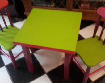 Hand painted table and 2 chair set.