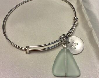 sterling silver adjustable bracelet with seafoam Seaglass dangle