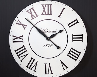 Oversize wall clock in classic white and black.