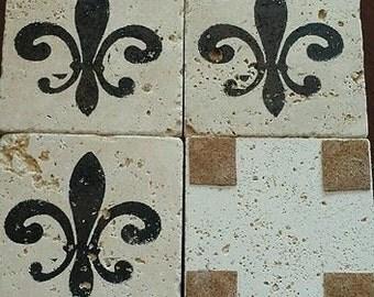 Natural stone coasters, set of 4, Fleur de lis, wedding, house warming, rustic