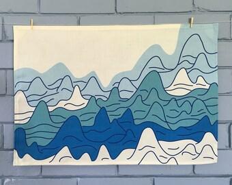 Ocean landscape tea towel. Linen/cotton.