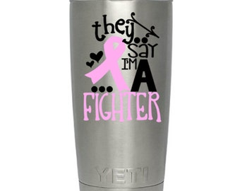 Cancer Ribbon Decal - Ozark Tumbler Decal - Rtic Cup Decal - Cancer Awareness Sticker - Cancer Survivor - Think Pink Cup Decal - Car Decal