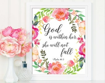 Psalm 46:5, God Is Within Her She Will Not Fall, Christian Decor, Christian Wall Art, Bible Verse Print, Christian Gifts, Scripture Art