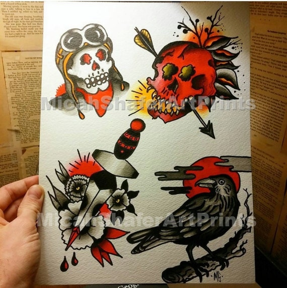 Traditional Flash Skull Tattoos: Neo-traditional/Traditional Tattoo Flash Print. Red Skull