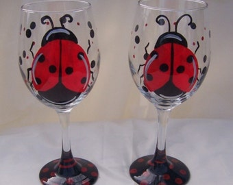 Lady bug wine glass