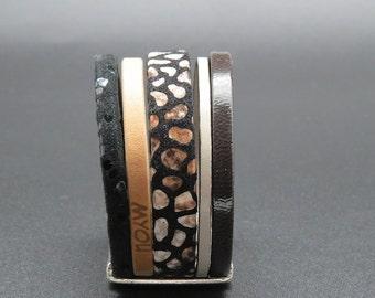 Cufflinks black Pebble leather