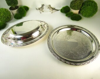 Vintage Silver Plated Covered Dish And Serving Tray Set Roses Shabby Chic Paris Apartment French