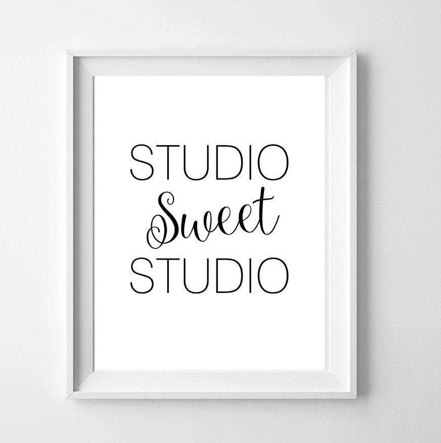 Studio Decor Wall Hanging Template : Studio sweet printable wall art decor monochrome