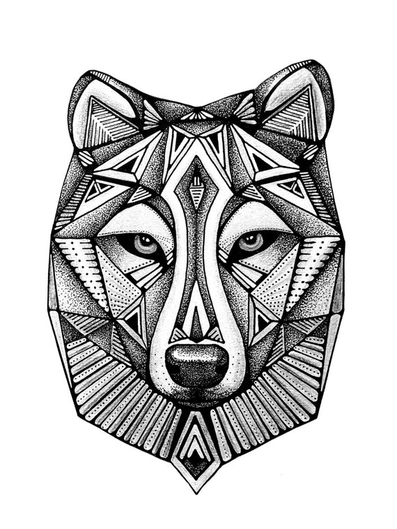 Wolf Print Geometric art Black and White Print Wolf Face