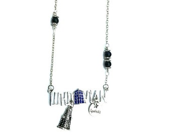 "Dalek Spoilers Whovian Doctor Who Inspired Beaded Charm 24"" Chain Necklace Silver Tone"