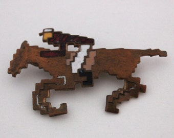 Vintage Enamel-on-Copper Pixelated Horse Pin
