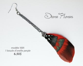 A red and black feathers earring  with dark chain