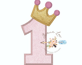 First birthday embroidery design, #1 appliqué with crown, princess birthday party, princess crown embroidery design, number one appliqué,