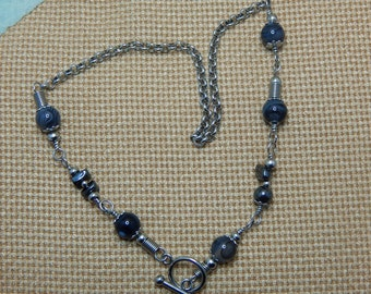 Charcoal black agate necklace