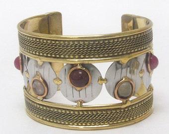 Handmade metal art cuff bracelet