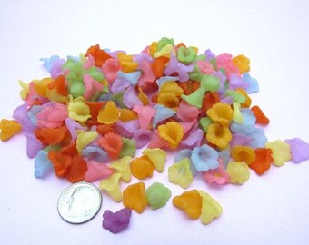 200 Transparent Frosted Acrylic Flower Beads 12mm (BR)