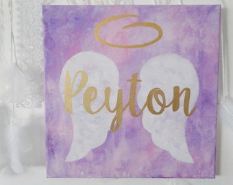 Custom Memorial Canvas Painting, Angel Wings, Infant Loss Awareness, Angel Baby, Bereavement Gift