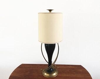 Hollywood Regency Brass & Black Lamp