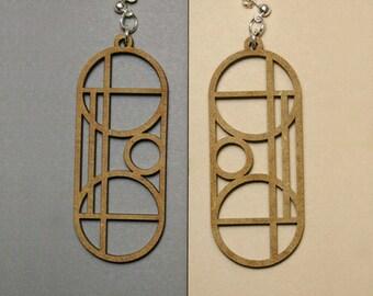 geometric laser cut earrings KUVIOT from MDF