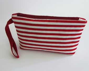 Pouch Cosmetic zipper bag Cosmetic Bag Padded Lined Toiletry makeup Red White stripes