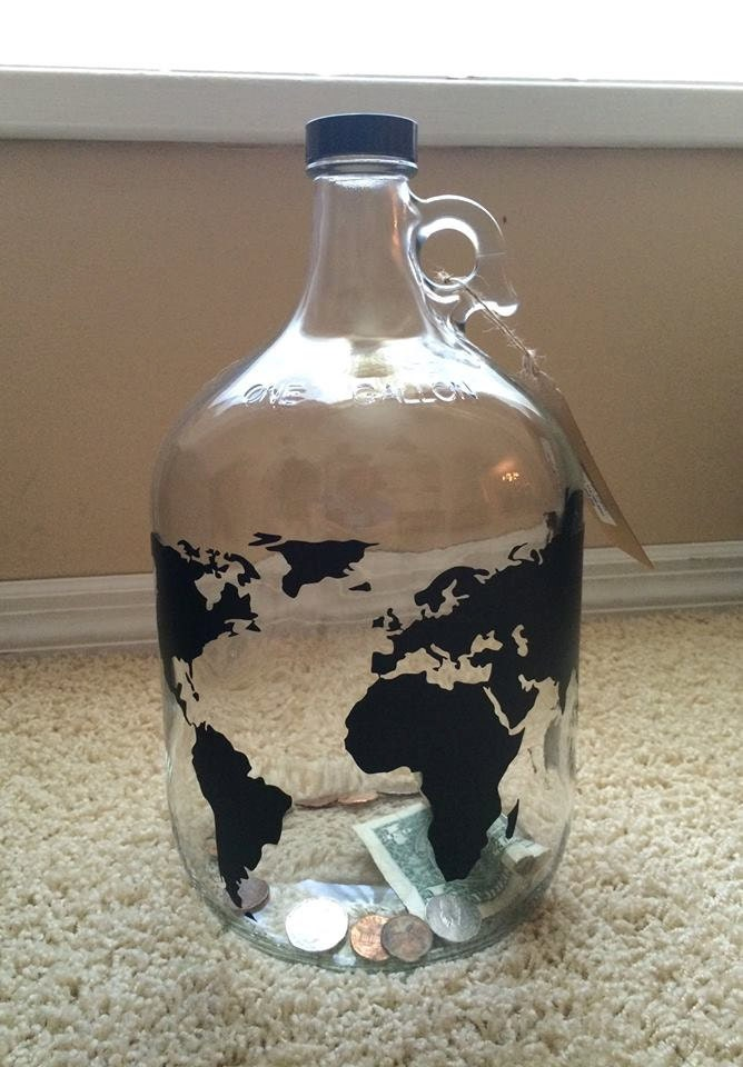 World map money jar travel fund 1 gallon glass jug with for Cool money jars