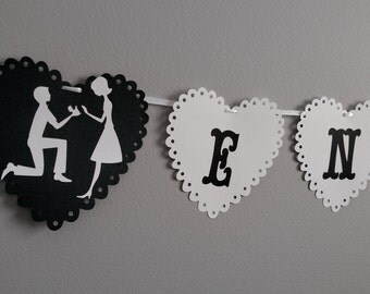 Engaged, Popped the question, Black and White , Engaged Hearts, Heart, Love, Black and White Couple Banner, PizzazinPaper