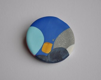 Polymer Clay Brooch - Light Blue/Blue/Gold Medium