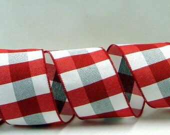 Wired Plaid Ribbon ~ 2.5 inchRed, White and Grey Plaid Ribbon ~ Checkered Ribbon ~ Craft Ribbon ~ Wreath Ribbon ~ 5 Yards