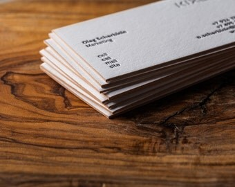 Custom letterpress business cards with coloured edges - 1 colour