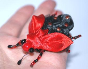 brooch, brooch with bug, brooch kanzashi, kanzashi, bug, red, kanzashi bug, gift, free shipping
