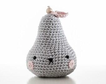 handmade, crochet, Baby Music Box Pirum Parum, light grey, cotton, pear, baby toy, melody, newborn birth present, pregnancy, baby shower