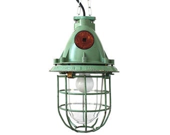 Vintage green industrial bunker lamp