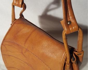 Brown Vintage Stitched Tan Leather Bag