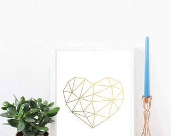 Heart, Heart shape, Geometric, Minimal, Gold Foil Print, A4, Gift, Illustration Art Print