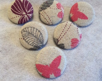 Fabric Covered Buttons, Shank Buttons, Beige Buttons, with Flowers and Butterflies, Patterned Buttons, 25mm, Large Buttons, Pretty Buttons