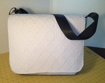White and Black Owl Messenger Bag with Seatbelt Strap