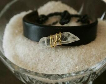 crystal black leather bracelet