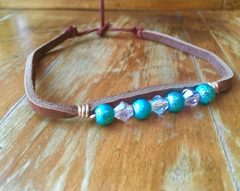 Blue and white beaded Brown leather choker