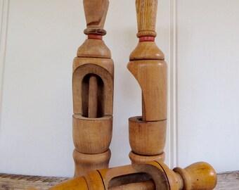 Antique Wooden Wine Bottle Corker/Bouchonneuse/vintage wood wine cork inserter