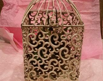 Antique White Birdcage