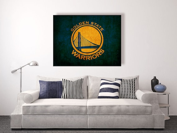 Golden state warriors vintage style canvas print by decorjay for Vintage basketball wall art