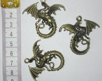 3 x Bronze Dragon Charms *40mm*et*