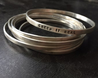 Creep It Real Stamped Bangle Bracelet