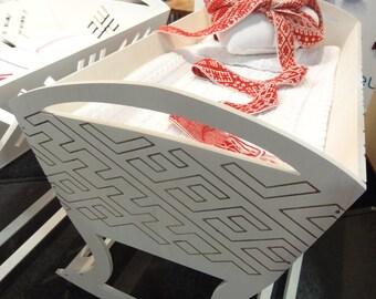 Baby cradle Lielvarde's belt, wooden, white, cradle for newborn