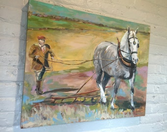 Horse painting, draft horse, midwest country, folk art